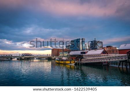 Boston Harbor Tea Party Ship at sunset in Boston, Massachusetts.