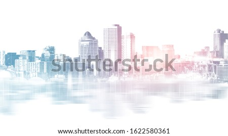 Abstract city building skyline metropolitan area in contemporary color style and futuristic effects. Real estate and property development. Innovative architecture and engineering concept. Royalty-Free Stock Photo #1622580361