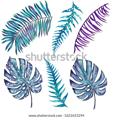 Watercolor Blue and Violet and Dotted Palm Leaves Clip Art. Unusual Funny Design. Tropical Botany Elements Isolated on White.