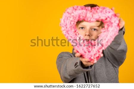 Celebration of love. Little child hold wicker heart. Valentines day celebration. Holiday celebration. Celebration time, copy space. #1622727652