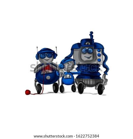 the image of a family of robots, robot grandma, grandpa robot, robot kid, blue color, white background, freehand drawing, funny picture