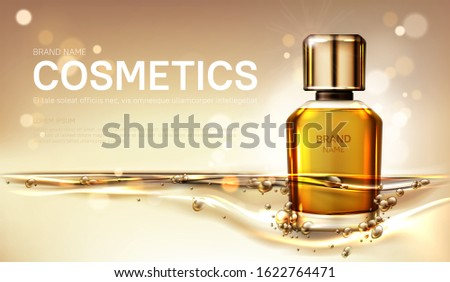 Oil perfume bottle with gold liquid on blurred sparkling background. Scent glass tube package design mockup. Women fragrance cosmetic product, promo poster ad. Realistic 3d vector illustration, banner #1622764471