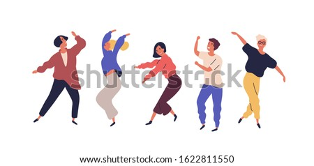 Set of dancing people having fun isolated on white background. Collection of smiling male and female in colorful clothing enjoying dance party. Cartoon dancers vector flat illustration Royalty-Free Stock Photo #1622811550