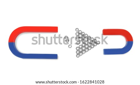 Magnets attracting metal nuts on white background, top view #1622841028