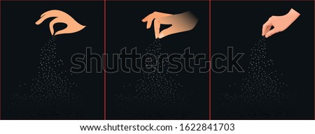salt sprinkling. human hands vector. Royalty-Free Stock Photo #1622841703
