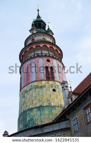 Vertical picture of the Castle Tower in State Castle, the most famous symbol of Cesky Krumlov, Czech Republic