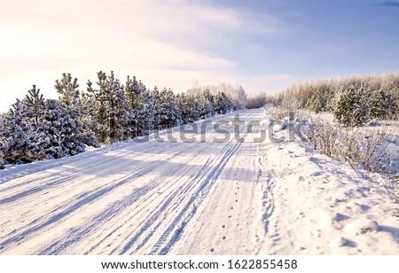 Winter snow rural road landscape. Road in winter snow. Rural winter snow road view #1622855458