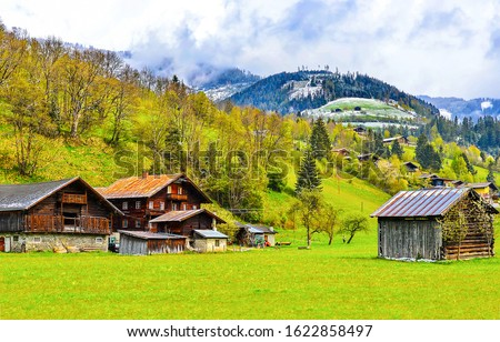 Mountain valley village houses view. Village in mountains. Mountain valley village #1622858497