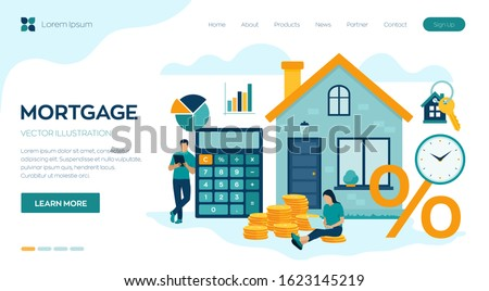 Mortgage concept. House loan or money investment to real estate. Property money investment contract. Family Buying Home. Man calculates home mortgage rate. Vector illustration with characters. #1623145219
