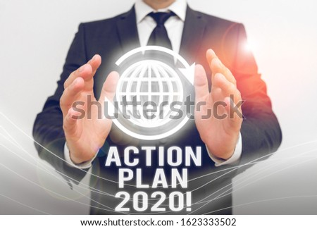 Writing note showing Action Plan 2020. Business photo showcasing proposed strategy or course of actions for current year. #1623333502