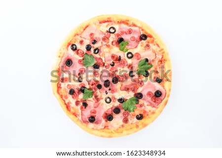 pizza with ham cheese hunting sausages and olives on a light background #1623348934
