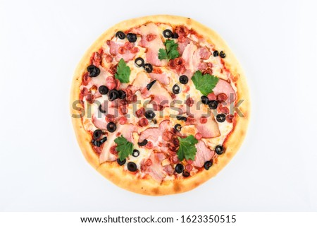 pizza with ham cheese hunting sausages and olives on a light background #1623350515