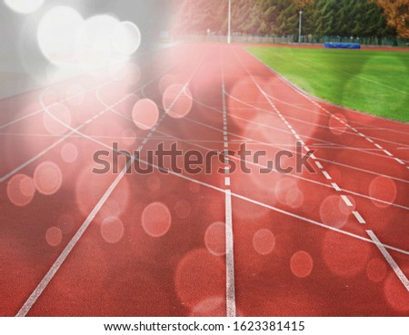 White lines of stadium and texture of running racetrack red rubber racetracks in outdoor stadium .  Abstract filter. #1623381415