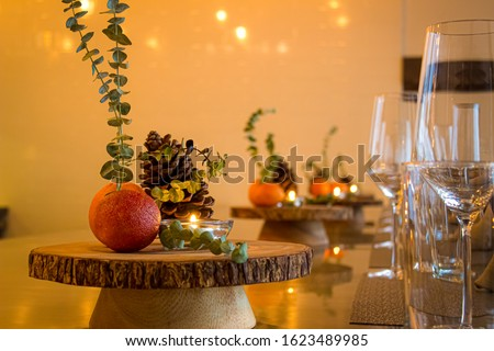 Luxurious center piece for a fine dining dinner party