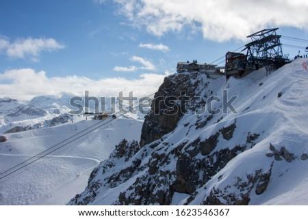 Pic de Saulire courchevel cabin station view sunset snowy mountain landscape France alpes