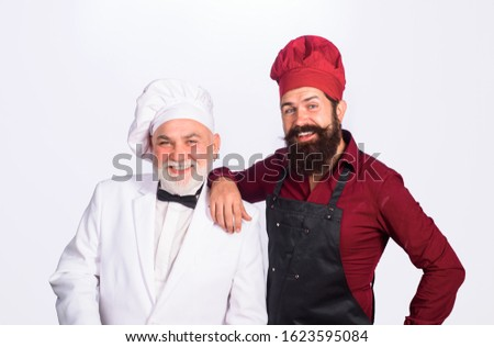 Two chefs on kitchen. Chefs in uniform. Healthy food. Chief cook and professional culinary. Professional cook men. Chef. Cook or baker men. Chefs ready to cook. Professional culinary. #1623595084