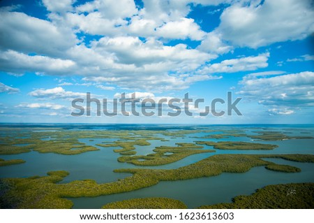 Aerial view of the Ten Thousand Islands in Everglades National Park Royalty-Free Stock Photo #1623613603