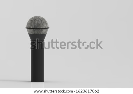 3d rendering. A microphone with clipping path isolated on gray background.