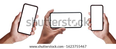Studio shot of Business  Hand holding Smartphone iPhone set and isolated on white background for your mobile phone app or web site design, logo  Global Business technology -include clipping path. #1623755467