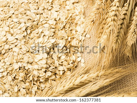 wheat and oats on the burlap #162377381