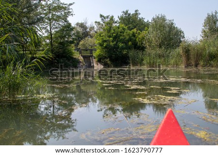 Kayak tour on the Moson Danube river in Hungary. Kayaking on a river with red boat in wildlife. Hungarian tourist and sport destination. Beautiful view of nature. Reflection photo.