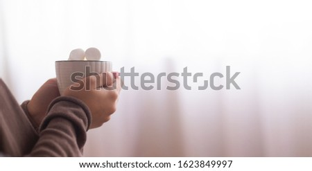 Hot chocolate in morning. Woman warming hands, enjoying warm drink near big window, panorama with empty space #1623849997