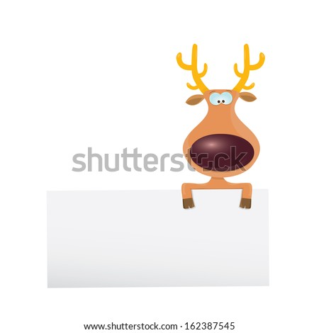 vector cartoon Christmas reindeer holding white blank banner for text . kids merry christmas illustration. postcard and greeting card design. #162387545