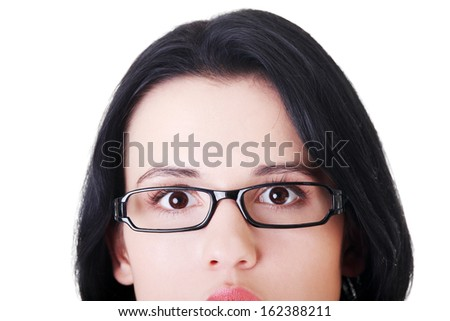 Female's face with eyeglasses. Cut out.  Isolated on white.  #162388211