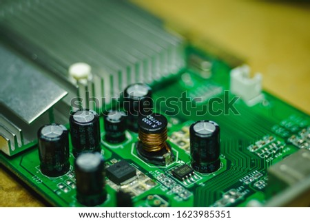 Closeup on Electronic device and electronic board, background #1623985351