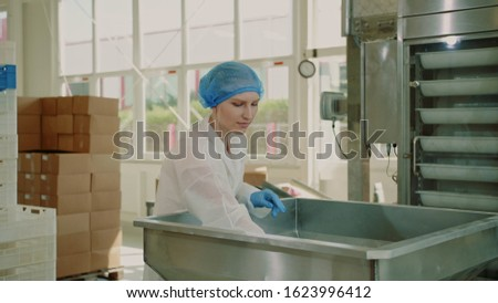 Candy factory. Factory worker checking packing machine. Young woman in uniform inspecting packing machine while working in confectionery factory. #1623996412