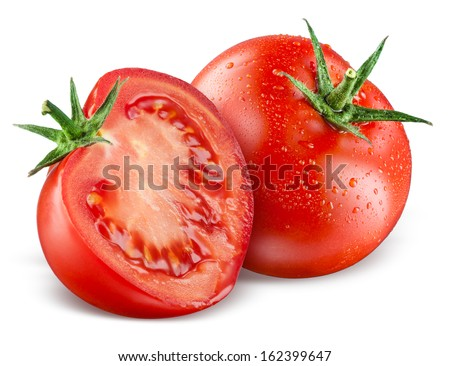 Tomatoes. Whole and a half isolated on white Royalty-Free Stock Photo #162399647