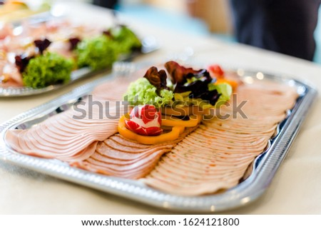 Different dishes nicely arranged by a caterer for a wonderful wedding celebration #1624121800