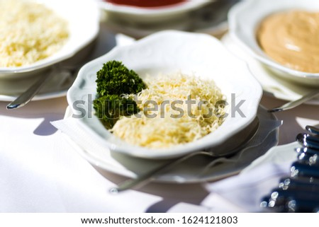Different dishes nicely arranged by a caterer for a wonderful wedding celebration #1624121803