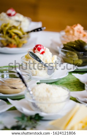 Different dishes nicely arranged by a caterer for a wonderful wedding celebration #1624121806