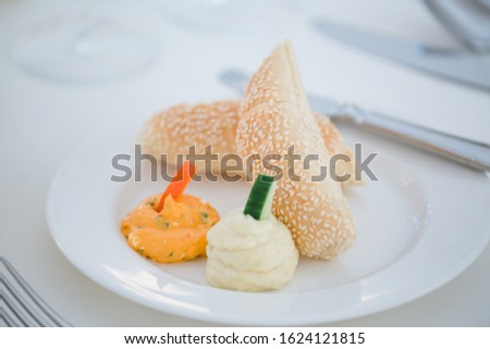Different dishes nicely arranged by a caterer for a wonderful wedding celebration #1624121815