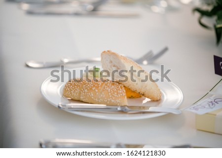 Different dishes nicely arranged by a caterer for a wonderful wedding celebration #1624121830
