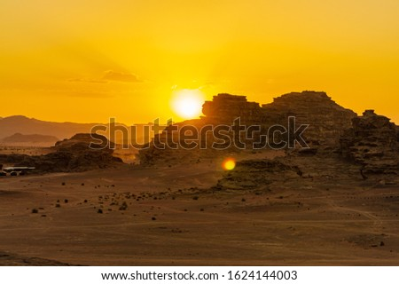 Vintage photos from archive. Jordan. Sunset in Wadi Rum desert. Martian landscapes in lifeless desert. Red rocks and red sand.  #1624144003