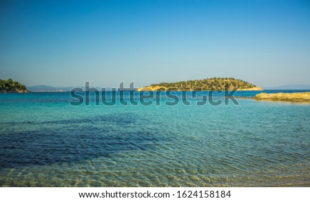 picturesque idyllic summer time landscape Mediterranean sea lagoon scenic view shallow water and small island Middle East beautiful natural environment  #1624158184