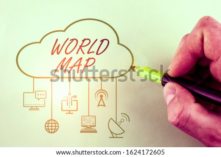 Conceptual hand writing showing World Map. Business photo showcasing a diagrammatic representation of the surface of the earth. #1624172605