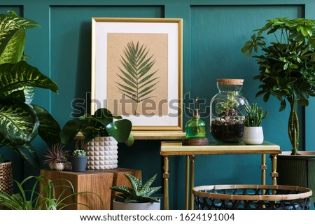 Modern composition of home garden filled a lot of beautiful plants, cacti, succulents, air plant in different design pots. Stylish botany interior.  Mock up poster frame.  Home gardening concept Royalty-Free Stock Photo #1624191004