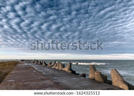Liepaja port north mole in windy day. #1624325512