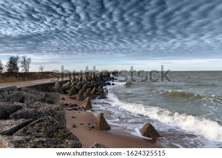 Liepaja port north mole in windy day. #1624325515