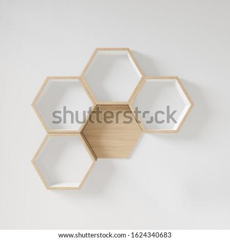Hexagon shelf copy space,copy space,mock up,hexegon #1624340683