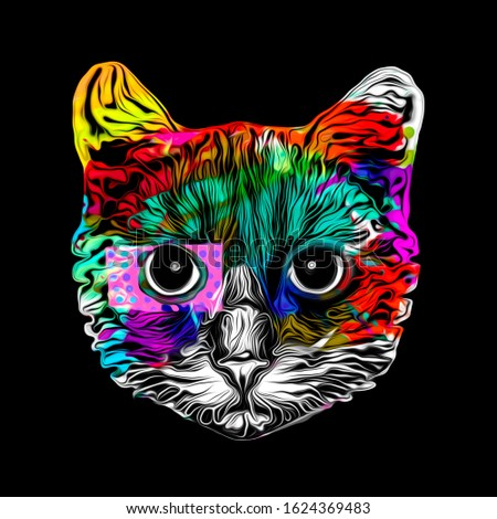 Cat head colorful illustration, digital art
