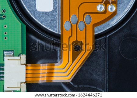 Microchip, contacts, electronics, motherboard. Macro photography of electronic devices. #1624446271