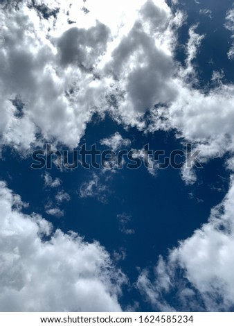 Dramatic Cloudscape Background with Blue Sky and frame #1624585234