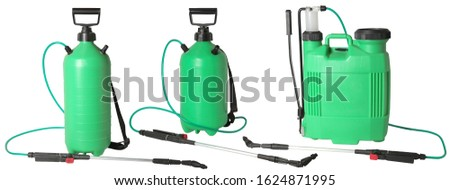 Set of green spraying fertilizers isolated on white background. Hand-pumped sprayer. Garden accesories #1624871995