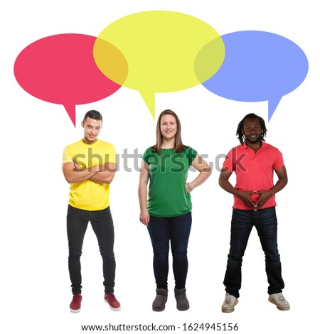 Young people talking multicultural multi ethnic speech bubble saying opinion copyspace copy space say #1624945156