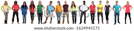 Group of young people collection smiling happy multicultural multi ethnic full body standing in a row isolated on a white background #1624945171