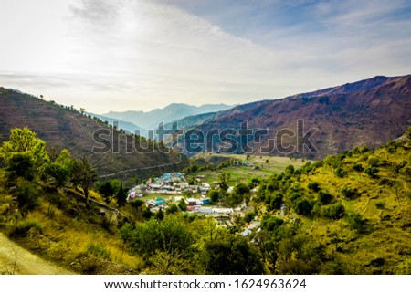 Mountain views of the Pantwari village located in Dehradun Uttarakhand India. Aerial view of village in Nag Tibba trek located in Dehradun Uttarakhand India. Travel and Trekking in Uttarakhand - Image #1624963624